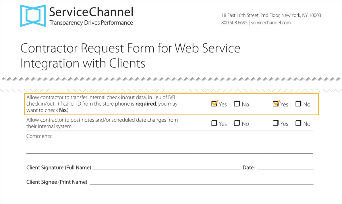 Contractor Request Form for Web Service Integration with selected XML permission