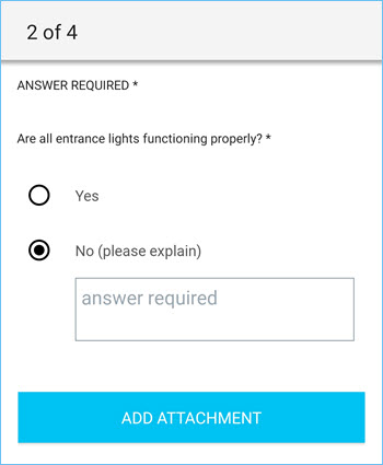 Selector question in the ServiceChannel Provider mobile app