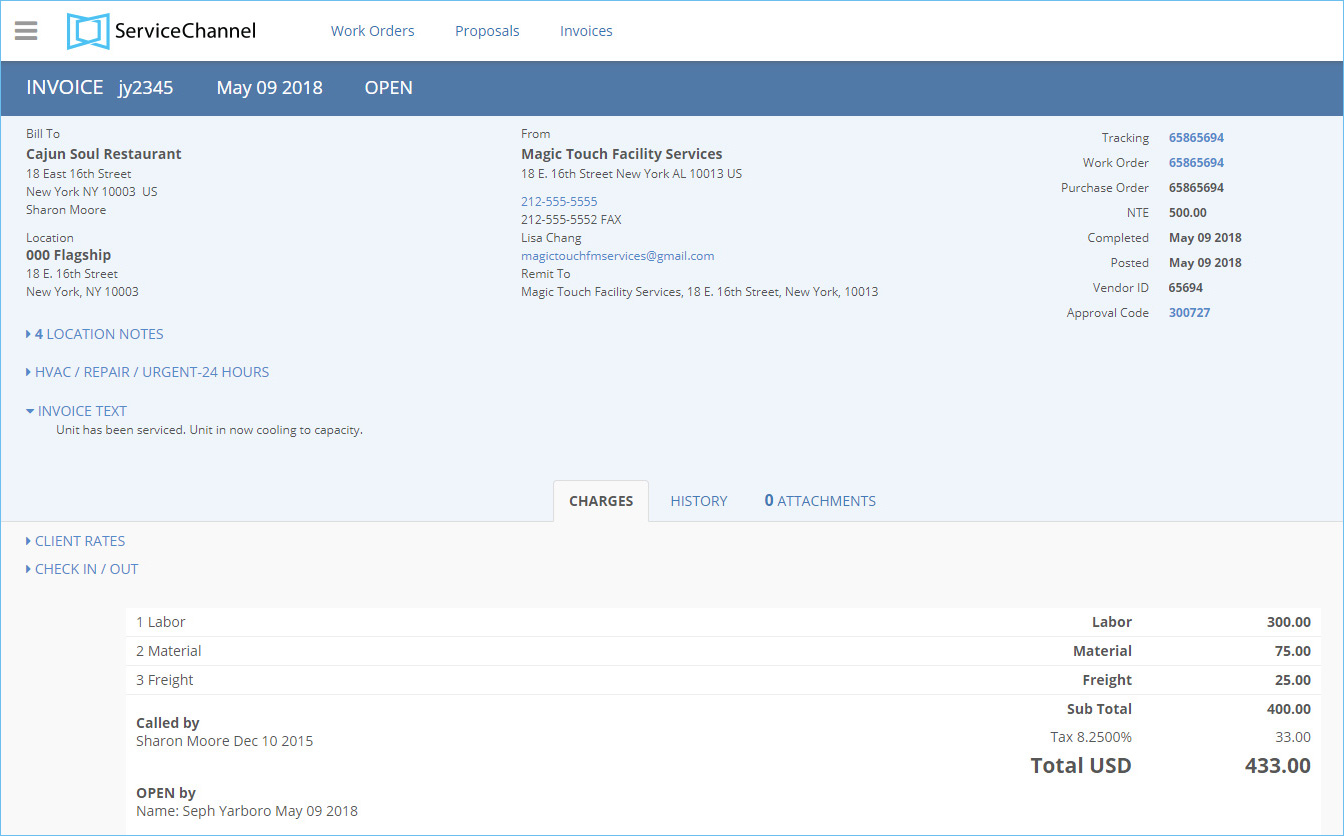 Invoice details page in Service Automation