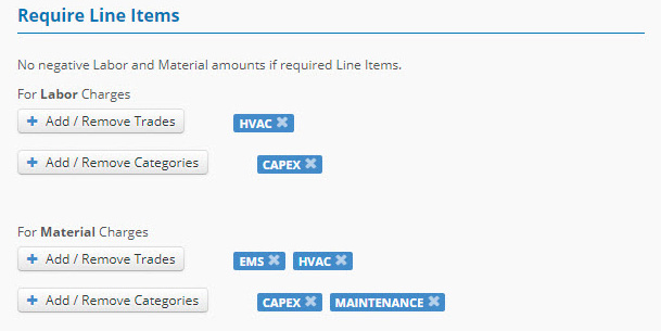 Require Line Items subsection
