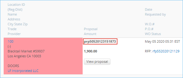 The proposal number displayed on the Proposals List in Service Automation