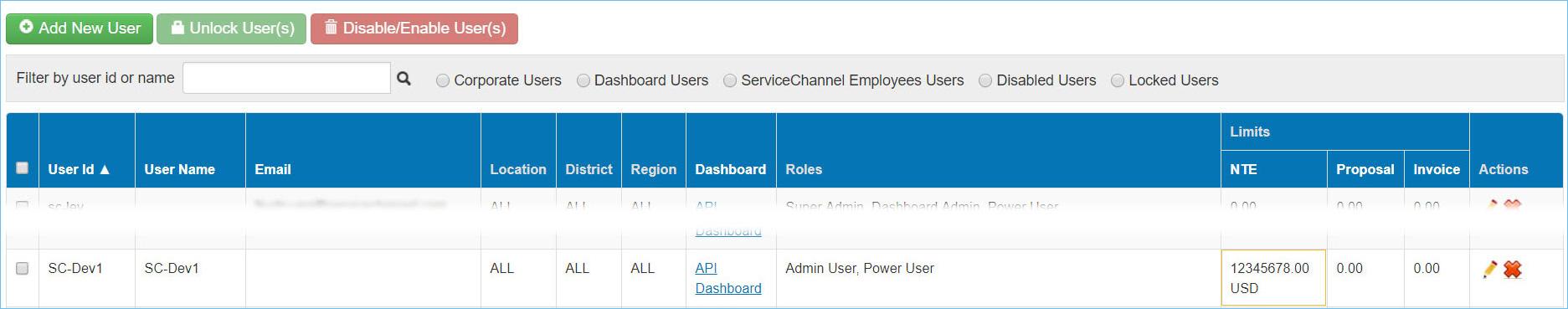SC Users settings
